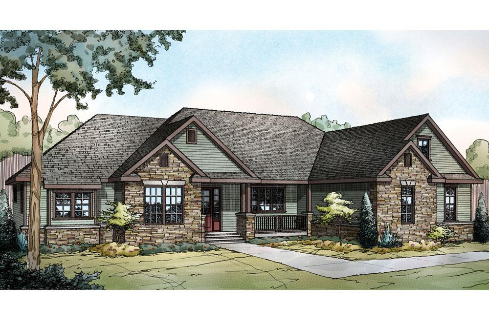 Front elevation of Ranch home (ThePlanCollection: House Plan #108-1722)