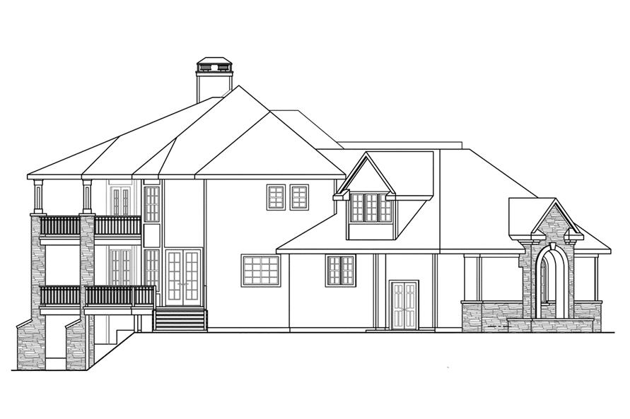Home Plan Left Elevation of this 4-Bedroom,5471 Sq Ft Plan -108-1739