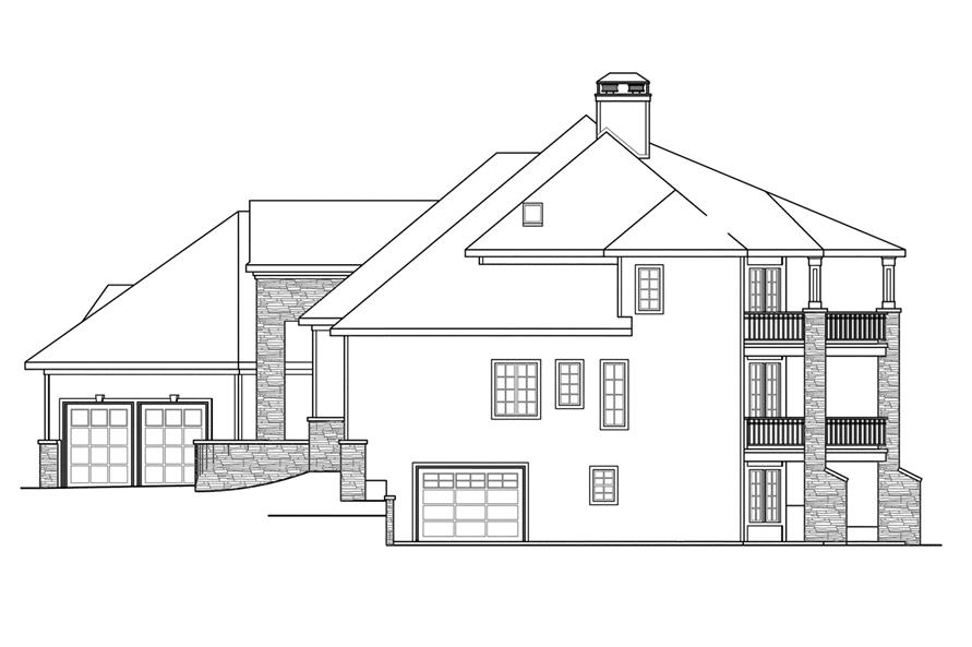 Home Plan Right Elevation of this 4-Bedroom,5471 Sq Ft Plan -108-1739