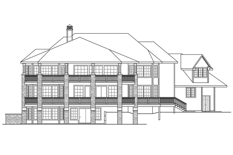 Home Plan Rear Elevation of this 4-Bedroom,5471 Sq Ft Plan -108-1739