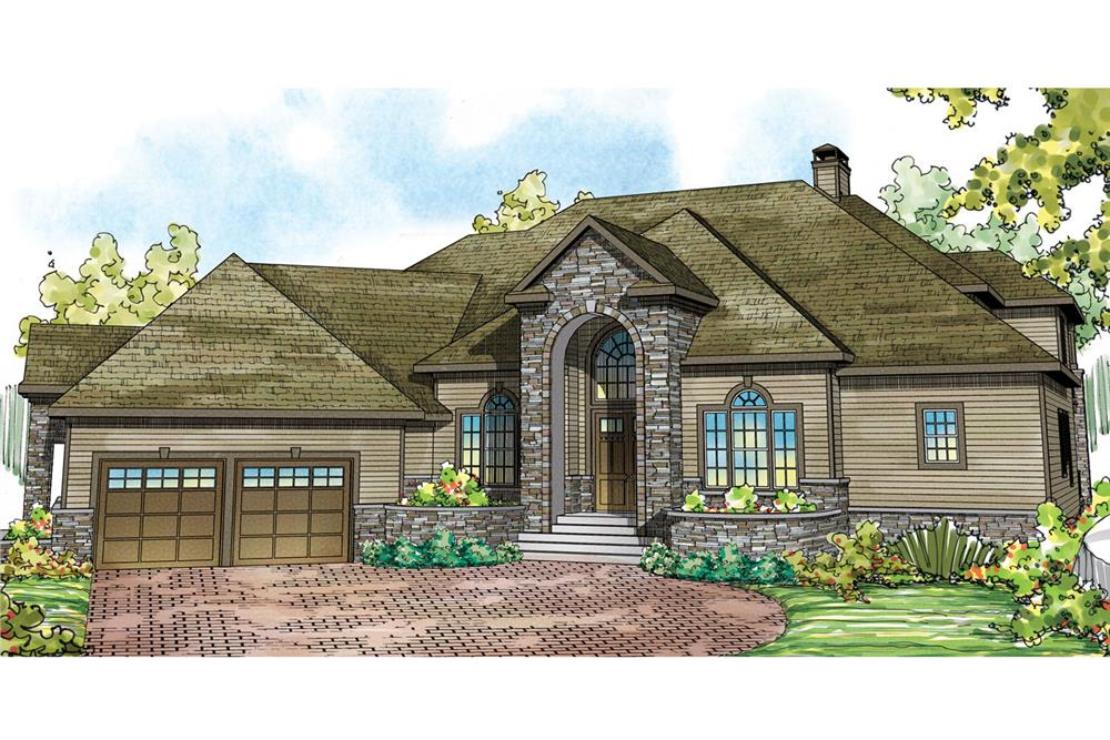Front elevation of Tudor home (ThePlanCollection: House Plan #108-1739)