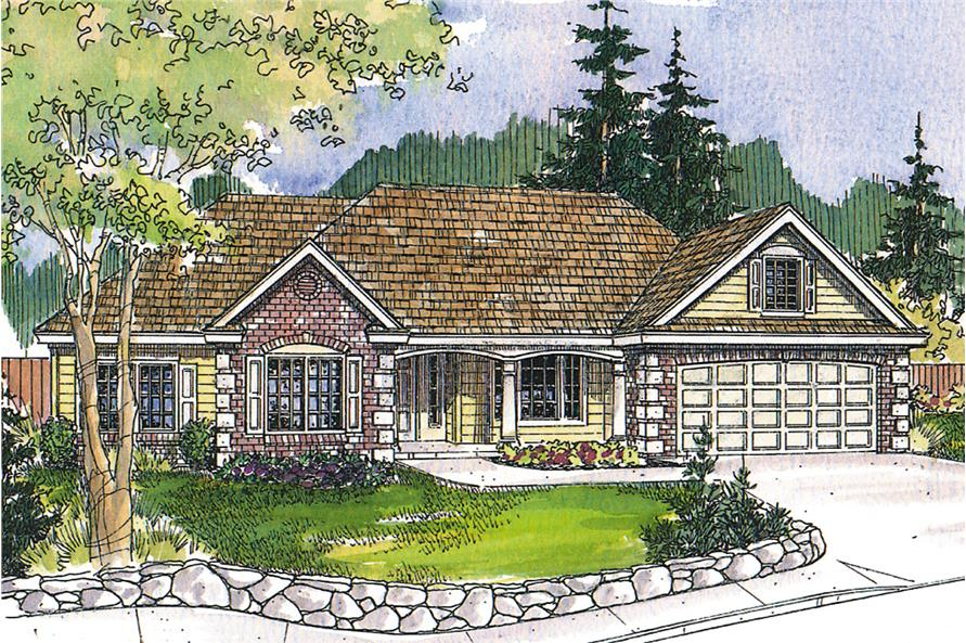 Front elevation of Ranch home (ThePlanCollection: House Plan #108-1740)