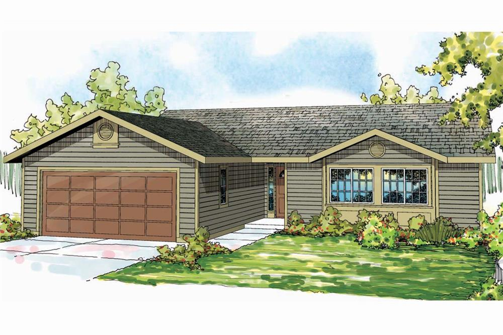 Front elevation of Ranch home (ThePlanCollection: House Plan #108-1741)