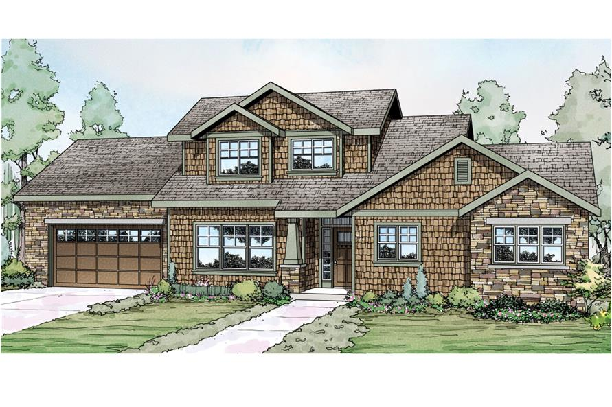 Front elevation of Shingle home (ThePlanCollection: House Plan #108-1742)