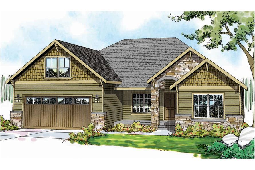 Front elevation of Craftsman home (ThePlanCollection: House Plan #108-1743)