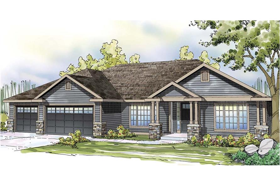 Front elevation of Ranch home (ThePlanCollection: House Plan #108-1745)