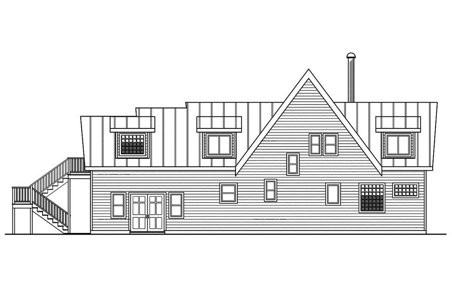 Home Plan Rear Elevation of this 3-Bedroom,1680 Sq Ft Plan -108-1746
