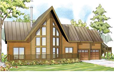Front elevation of A Frame home (ThePlanCollection: House Plan #108-1746)