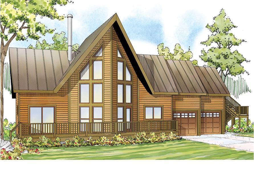 3-Bedroom, 1680 Sq Ft A Frame Home Plan - 108-1746 - Main Exterior