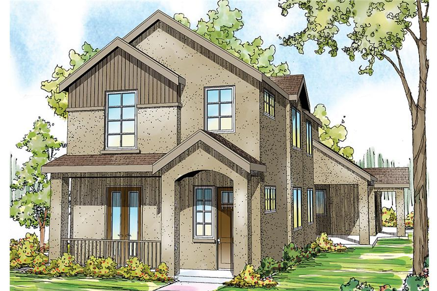 Front elevation of Mediterranean home (ThePlanCollection: House Plan #108-1747)
