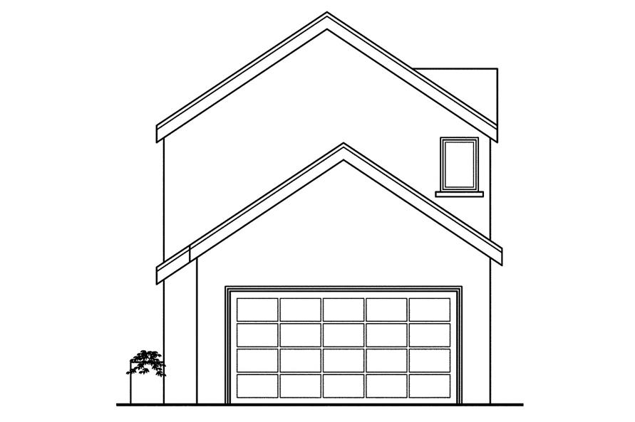 108-1749: Home Plan Rear Elevation