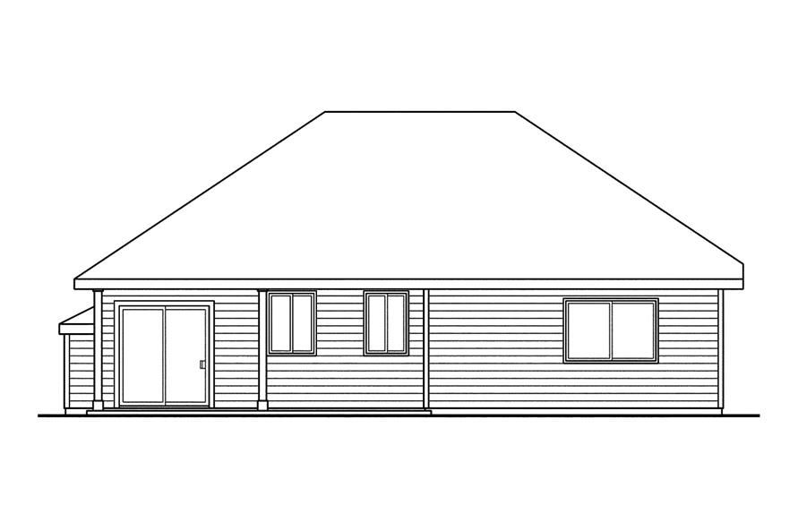108-1750: Home Plan Rear Elevation