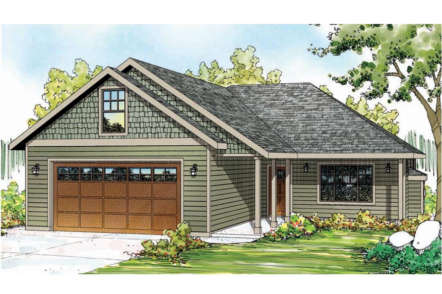 Front elevation of Ranch home (ThePlanCollection: House Plan #108-1750)