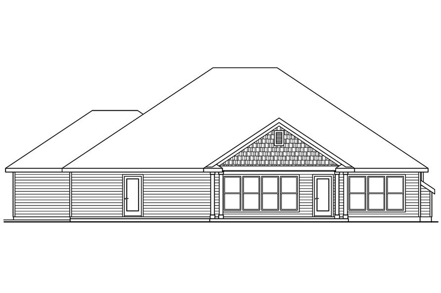 Home Plan Rear Elevation of this 4-Bedroom,2412 Sq Ft Plan -108-1751
