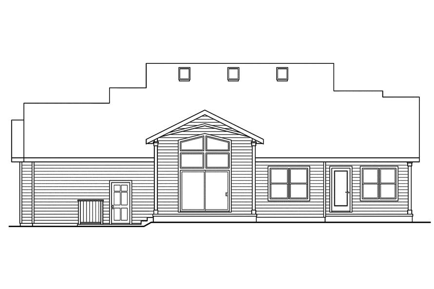 108-1752: Home Plan Rear Elevation
