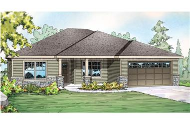 Front elevation of Ranch home (ThePlanCollection: House Plan #108-1754)