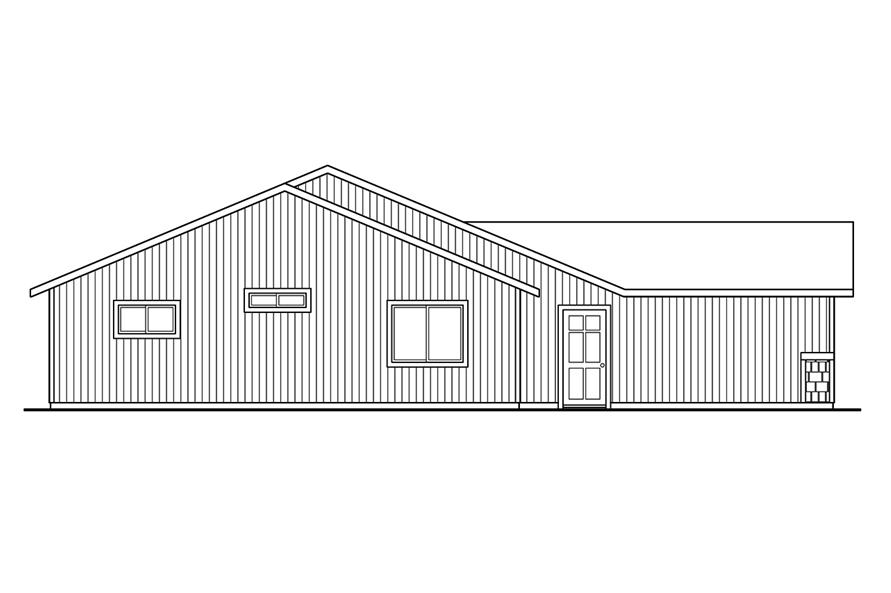 Home Plan Left Elevation of this 4-Bedroom,1605 Sq Ft Plan -108-1755