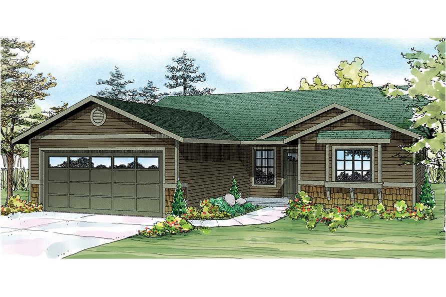 Front elevation of Ranch home (ThePlanCollection: House Plan #108-1755)