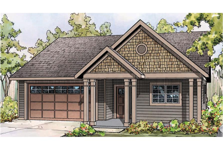 Front elevation of Cottage home (ThePlanCollection: House Plan #108-1757)
