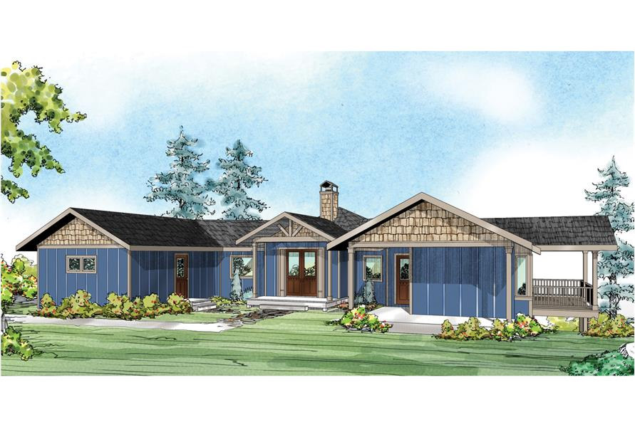 Front elevation of Prairie home (ThePlanCollection: House Plan #108-1759)