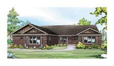 Front elevation of Ranch home (ThePlanCollection: House Plan #108-1760)