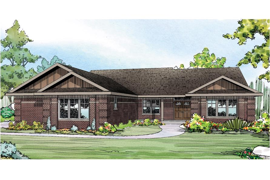 3-Bedroom, 2390 Sq Ft Ranch House Plan - 108-1760 - Front Exterior