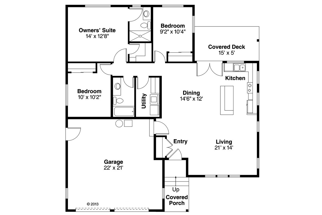 Ranch House Plan 108 1761 3 Bedrm 1298 Sq Ft Home Theplancollection