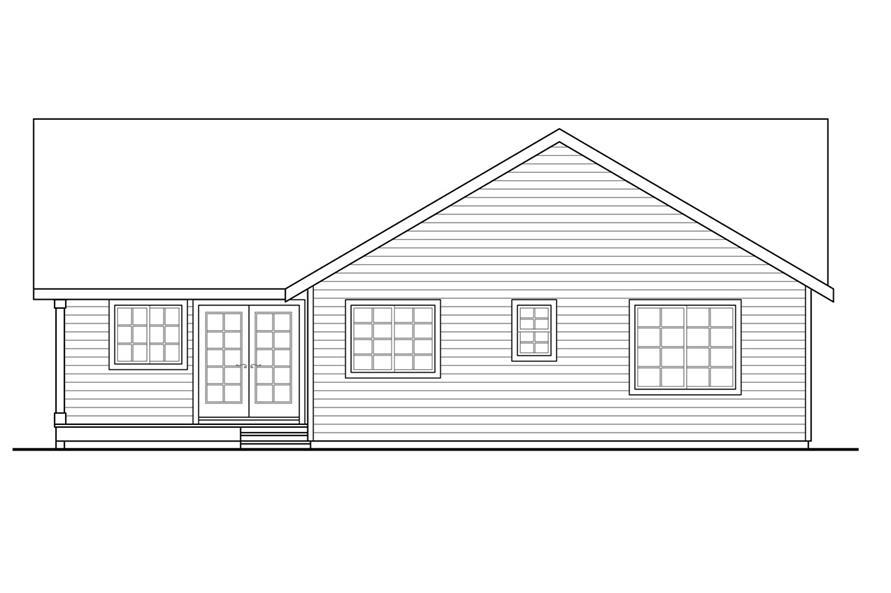 108-1761: Home Plan Rear Elevation