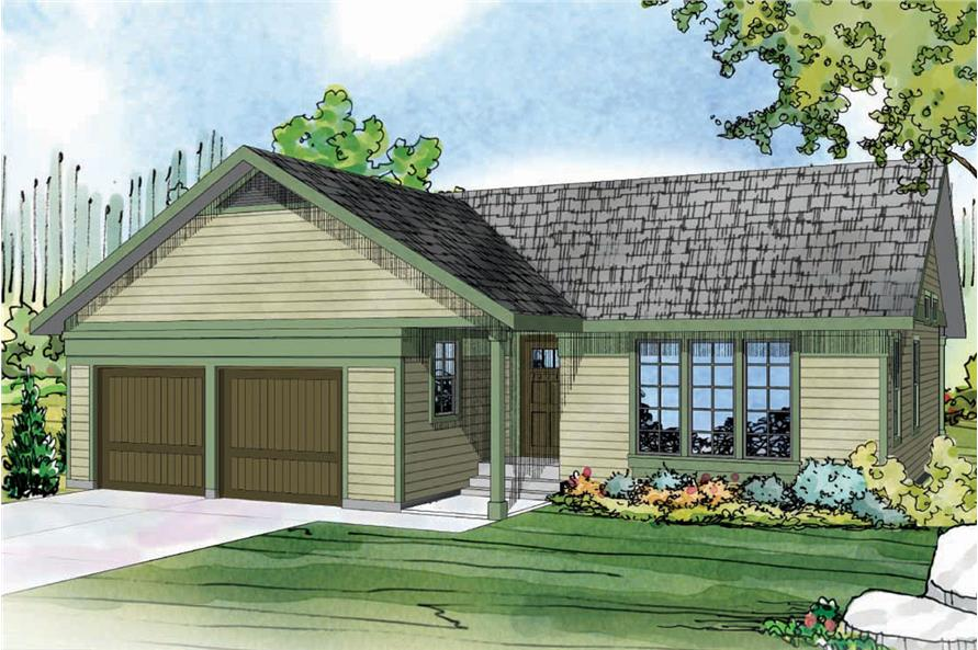 Front elevation of Ranch home (ThePlanCollection: House Plan #108-1761)