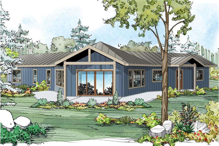 Front elevation of Ranch home (ThePlanCollection: House Plan #108-1762)