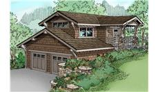 Front elevation of Craftsman home (ThePlanCollection: House Plan #108-1766)