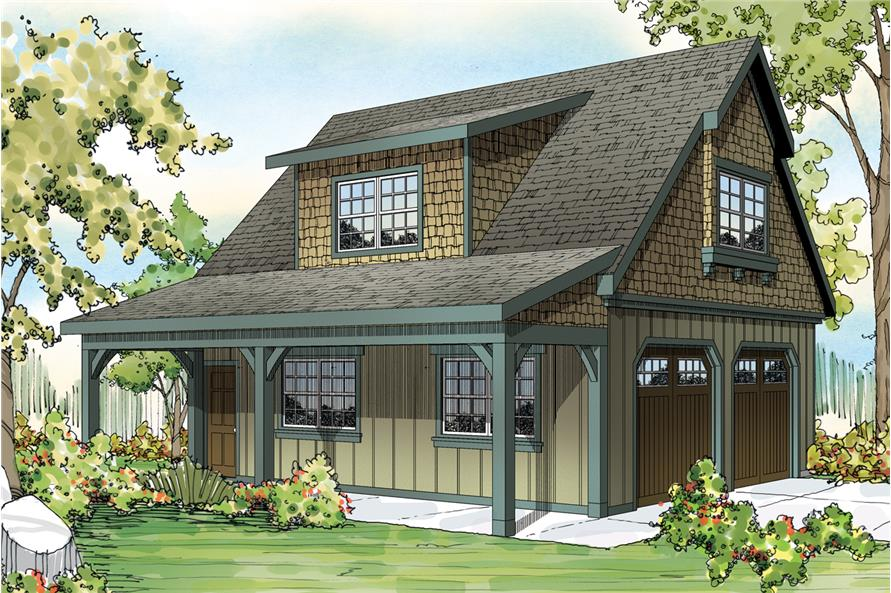 Front elevation of Craftsman home (ThePlanCollection: House Plan #108-1770)