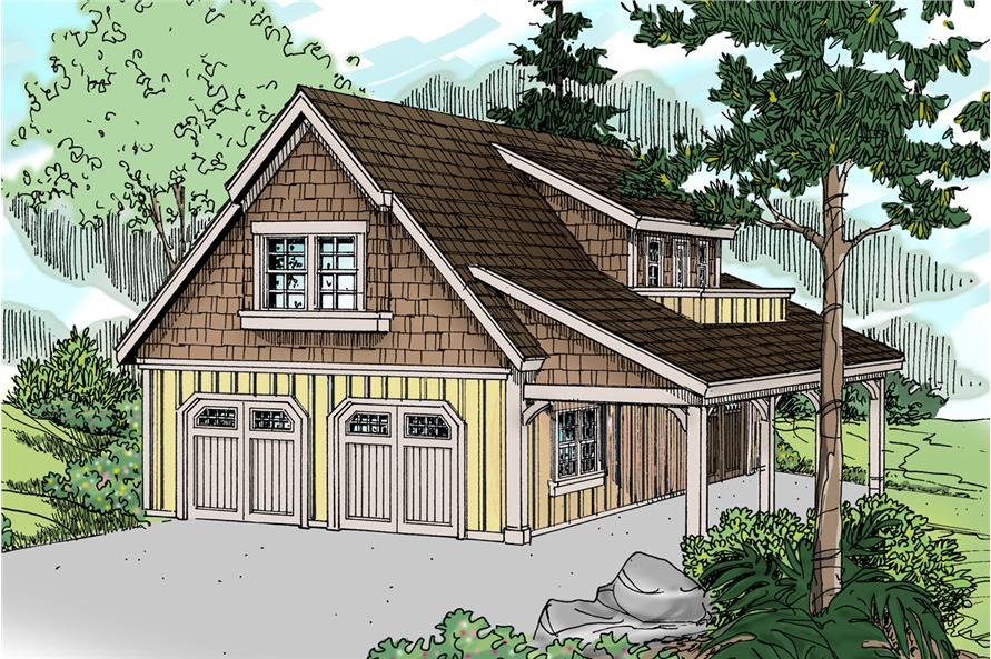 Front elevation of Craftsman home (ThePlanCollection: House Plan #108-1771)