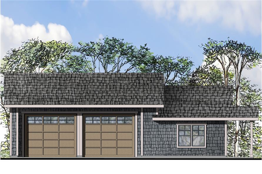 Front elevation of Shingle home (ThePlanCollection: House Plan #108-1773)