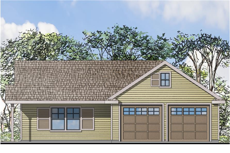 Front elevation of Shingle home (ThePlanCollection: House Plan #108-1774)