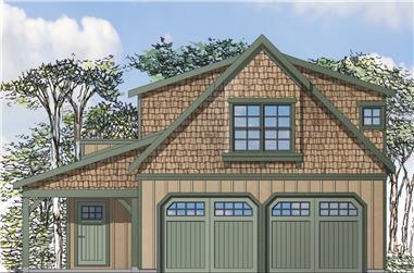 1-Bedroom, 1573 Sq Ft Craftsman Home Plan - 108-1775 - Main Exterior