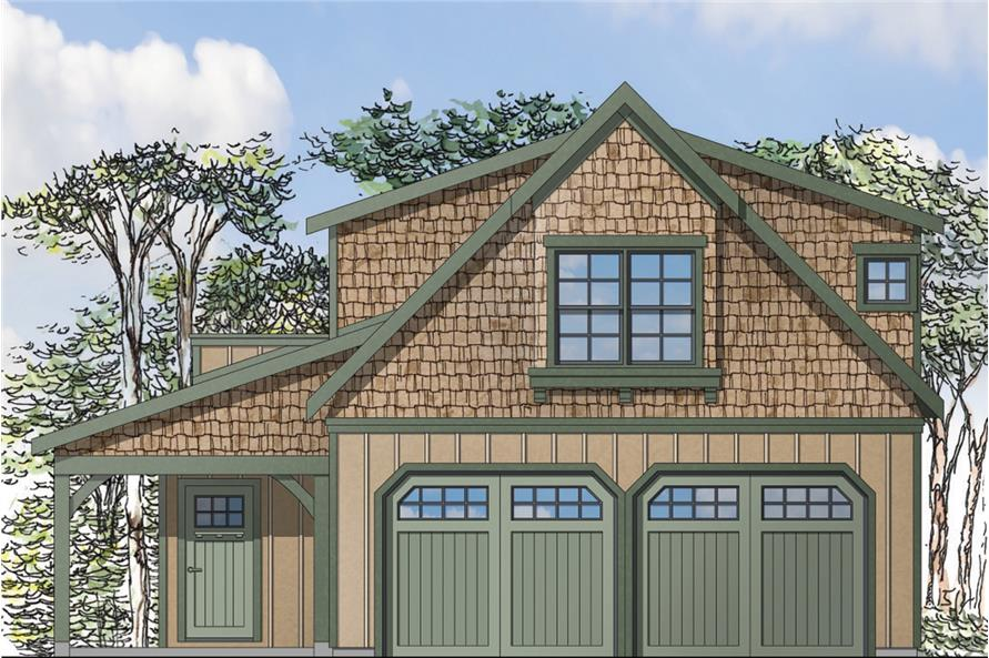 Front elevation of Craftsman home (ThePlanCollection: House Plan #108-1775)