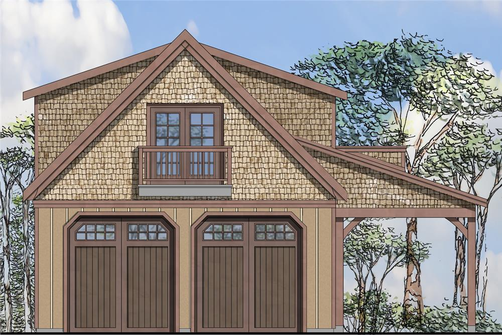 Front elevation of Garage w/Apartments home (ThePlanCollection: House Plan #108-1776)