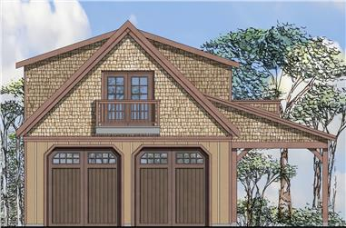 Front elevation of Craftsman home (ThePlanCollection: House Plan #108-1776)