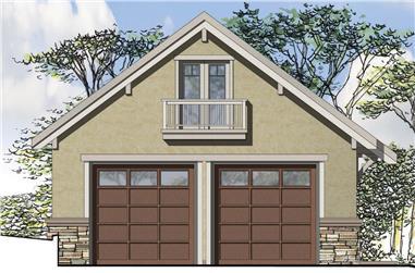 1298 Sq Ft European Garage Plan - 108-1780 - Main Exterior