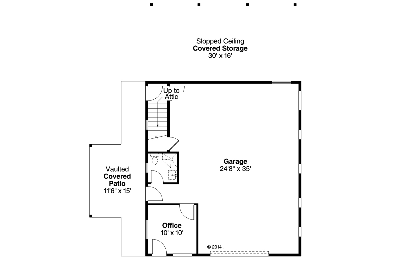 Craftsmanplan 108 1782 0 bedrm 2 car garage for Garage floor plans