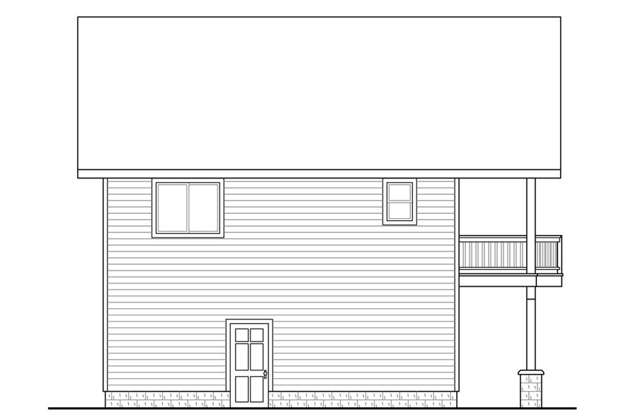 Home Plan Left Elevation of this 1-Bedroom,896 Sq Ft Plan -108-1784