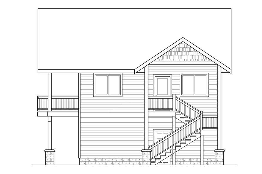Home Plan Right Elevation of this 1-Bedroom,896 Sq Ft Plan -108-1784