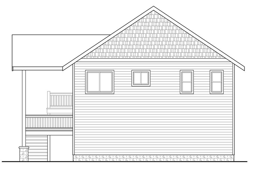 Home Plan Rear Elevation of this 1-Bedroom,896 Sq Ft Plan -108-1784
