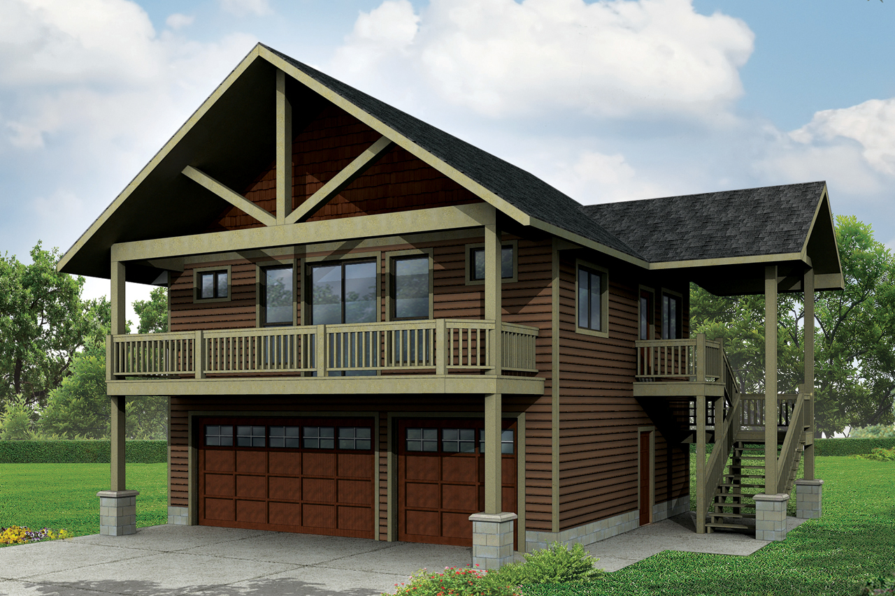 3 car 1 bedroom garage w apartments 108 1784 · front elevation of craftsman home theplancollection house plan 108 1784