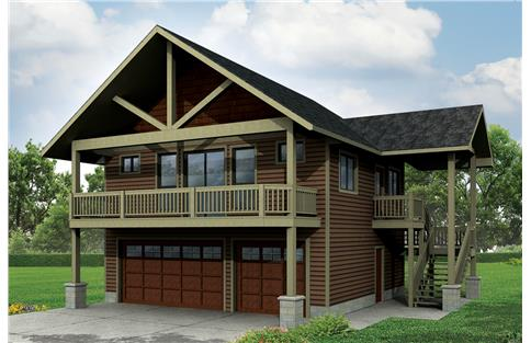 Front elevation of Craftsman home (ThePlanCollection: House Plan #108-1784)