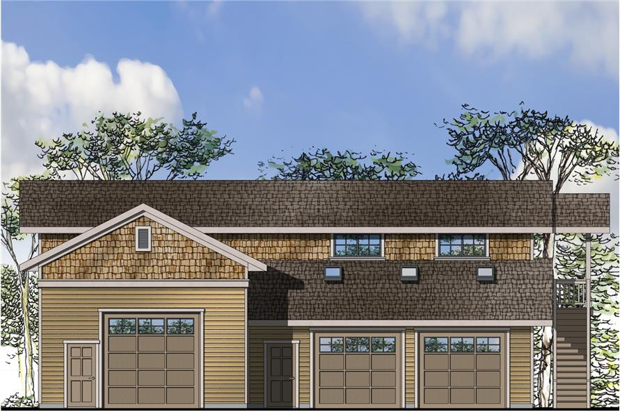 Front elevation of Craftsman home (ThePlanCollection: House Plan #108-1785)