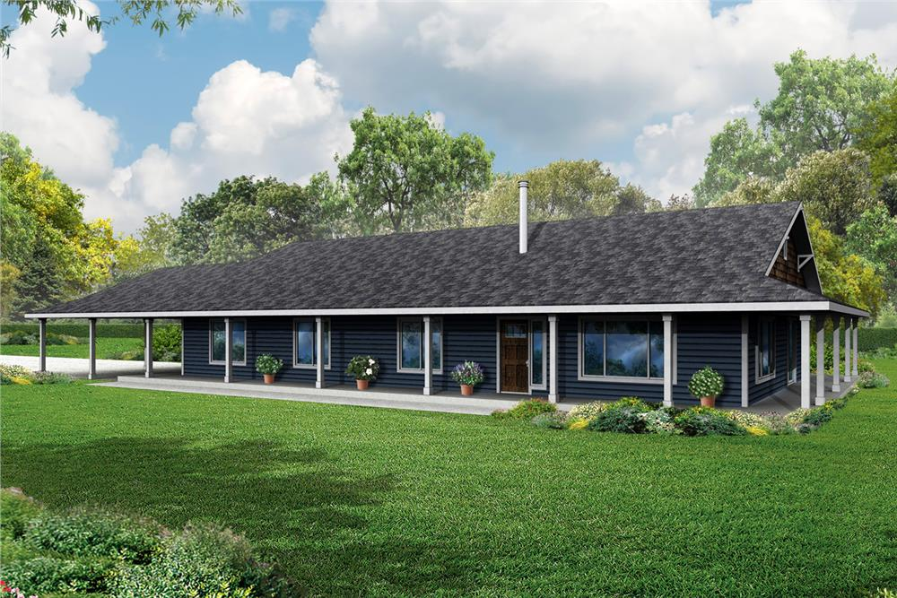 Front elevation of Ranch home (ThePlanCollection: House Plan #108-1786)