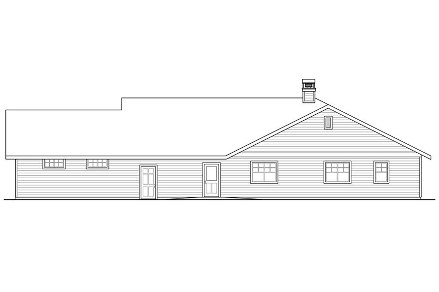 108-1787: Home Plan Rear Elevation