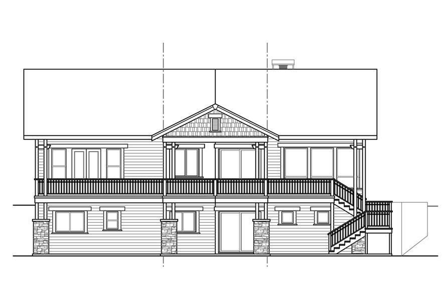 108-1788: Home Plan Rear Elevation